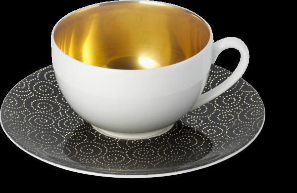 2-tlg. Set Ornament gold/schwarz kaffee Untertasse