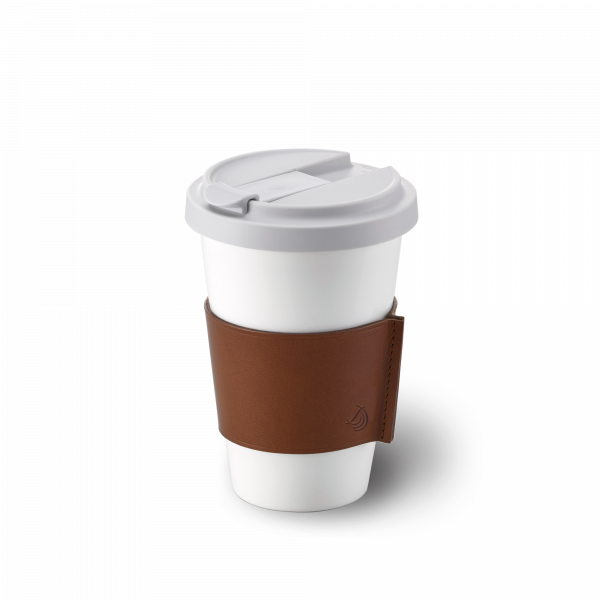 Fine Bone China Coffee-To-Go Becher mit Lederbanderole in Braun (0,35l)