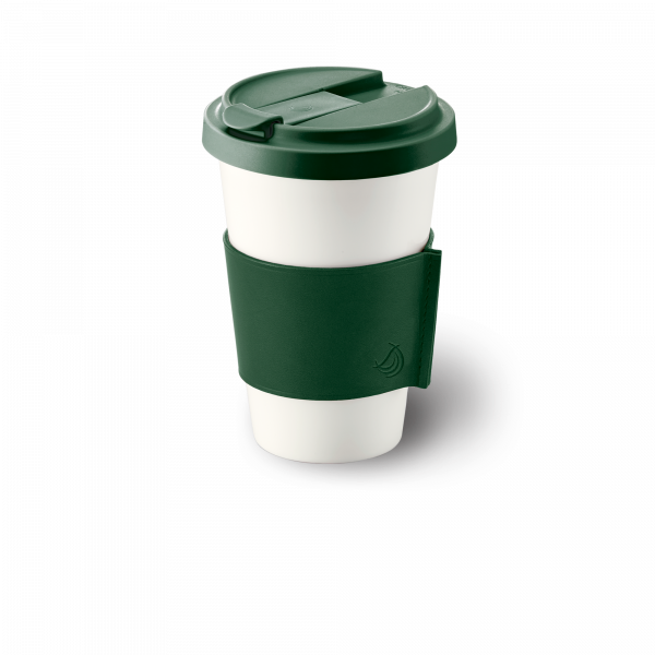 Fine Bone China Coffee-To-Go Cup with leather sleeve in Dark Green (0,35l)