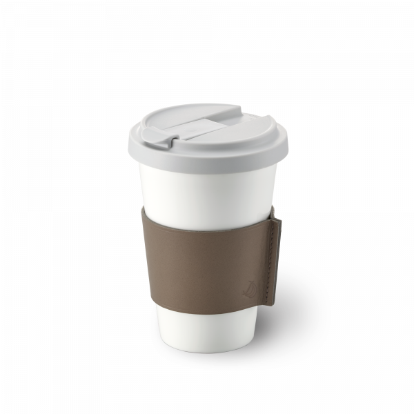 Fine Bone China Coffee-To-Go Becher mit Lederbanderole in Taupe (0,35l)