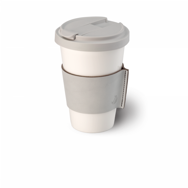 Fine Bone China Coffee-To-Go Becher mit Lederbanderole in Lichtgrau (0,35l)