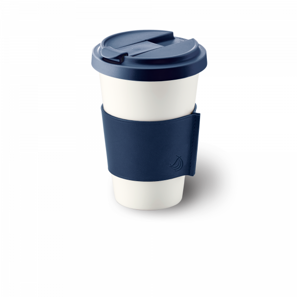 Fine Bone China Coffee-To-Go Becher mit Lederbanderole in Marine (0,35l)
